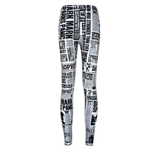 MultiFunS Fashion 2016 Women Sexy vintage leggings jeggings Original Element English newspapers White Black Leggings