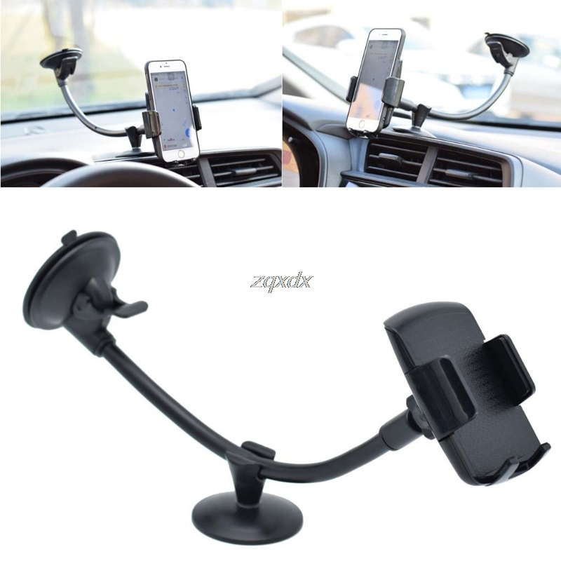 Black Cell Phone Car Mounts,Universal 360/°Rotate Car Holder Stand Mount Windshield Bracket For 3.5-6 inch Cell Phone,With Sucker.