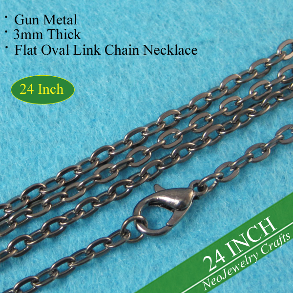 24 inch Gun Metal Rolo Chain Necklace, 60cm Metal Link Chain Necklace, Gun Metal Chain Necklace, Vintage Style Rolo Chains 24''