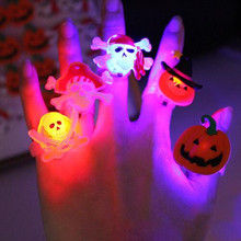 New 2017 Flashing Finger Rings Light up Ghost Ring Boys Girls Dress Decorations Party Halloween Party Supplies Glow RING(China)