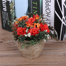New Arrival! Cheap Artificial Flowers Arrangement Decorative Potted Silk Rose Fake Plants Rope Vase For Wedding Home Decoration(China)
