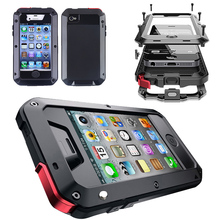 Tempered Glass Heavy Duty Metal Rubber Hybrid Full Body Tough Armor Shockproof Case for iPhone 4 4s Phone Cover Coque Capinha
