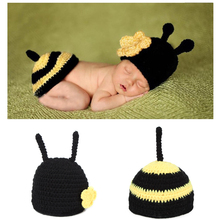 New 0-3 months Soft Adorable Hand-woven Bee Cute Newborn Crochet Baby Clothes One Hundred Days Baby Photo photography Props Wool(China)