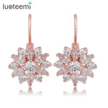LUOTEEMI Clip on Earrings for Women Luxury Rose Gold-Color Flower Hoop Brincos with Zircon Stone Women Gift Factory Wholesale(China)