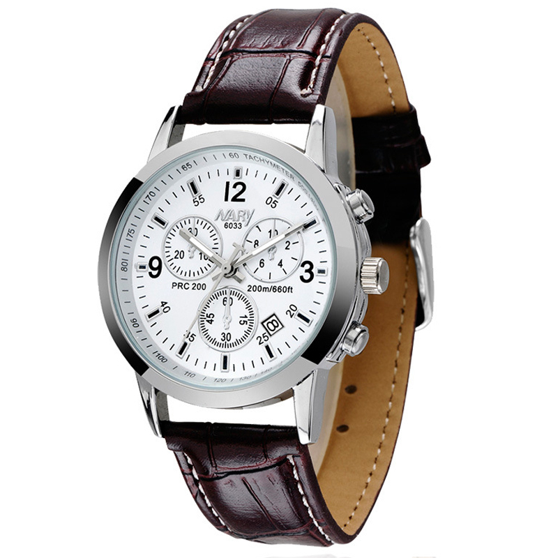 NARY Brand Watches Men Luxury Brand Quartz Watch Man Wristwatch Male Calendar Leather Strap Wristwatches Mens Casual Clock 6033<br><br>Aliexpress