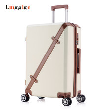 "20""24""inch Vintage Luggage,password lock Suitcase,Universal wheels Trolley,PC+ABS hard shell travel bag,Spinner Rolling Case box(China)"