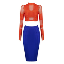 2016 new orange and blue long sleeve mesh   bandage 2 piece sets  dress   party dress wholesale dropshipping