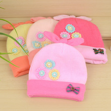 Flower Knitted Newborn Baby Hat For Girls Winter Cotton Infant Beanies With Bowknot Warm Crochet Hat Fashion Newborn Girls Hats(China)