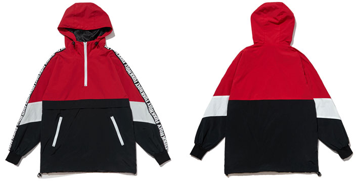 Patchwork Color Block Pullover Hooded Jackets 7