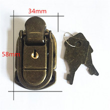 58*34mm Antique Box buckle  Gift  Wooden box lock  Packing decorative box clasp  Iron hasp  Locking latch Wholesale