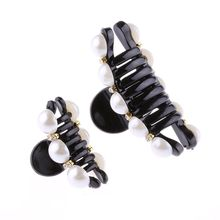 1 PC Black Hair Clip Claw Clip Crystal Pearl Plastics for Women/Baby Party Festival Rhinestone Hairpins Hair Accessories 2016