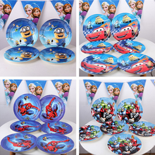 Hot Sale 10pcs/lot Kid Boys Party Theme 9inch Cartoon Cars spiderman Paper Plate Cake Dishes Kids Birthday party Decoration