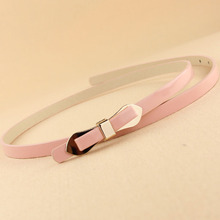 Decorative Thin Belt Wholesale Candy Colored PU Leather Waistbelt Buttlefly Knot Bulckle Free Shipping