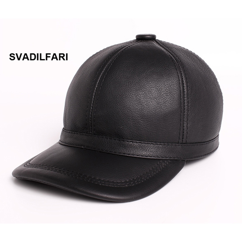 SVADILFARI Brand 100% high quality Genuine Leather Baseball Caps Cowhide Leather Hat Mens Fashion 2017 New Arrival Bones<br>