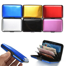 Aluminum Metal Bankcard Blocking Hard Case Wallet Credit Card Anti-RFID Scanning Protect Holder Carteira Feminina Masculina(China)