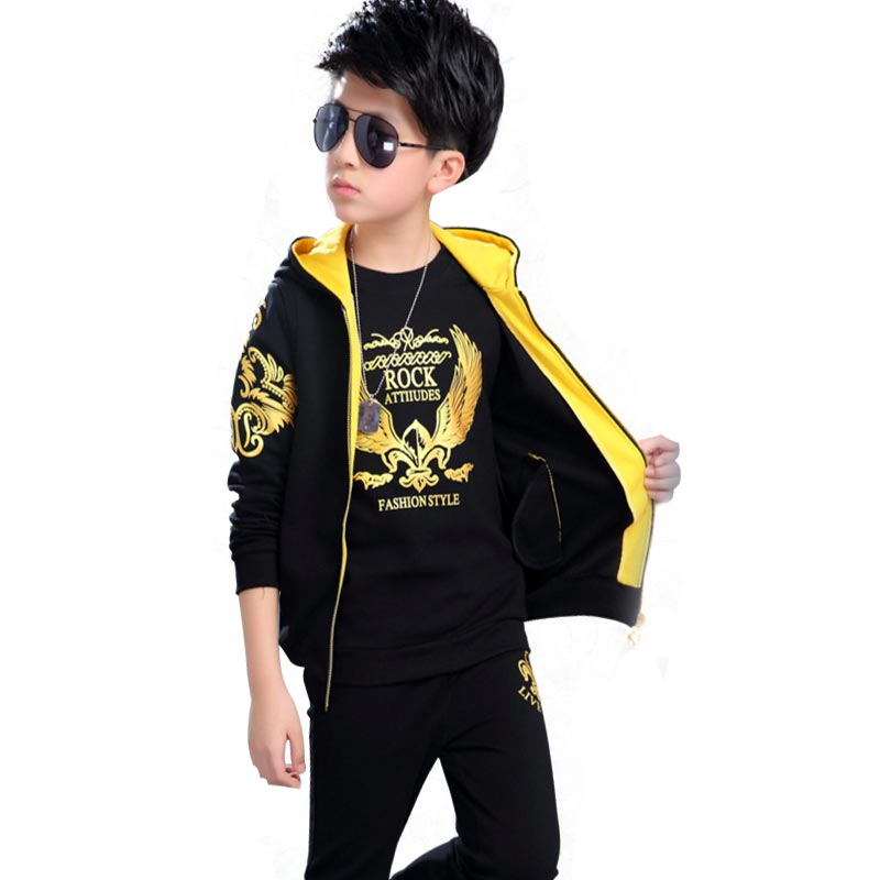 Fashion Kids Boys Clothes Set for Branded Children Clothing Sets Big Boy Cotton Casual Sport Suit  5-12 Years Printing Eagles<br>