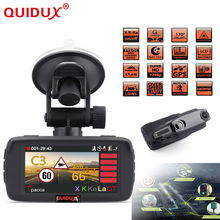 QUIDUX Russian Ambarella A7 Car 2.7 Inch Screen display Speed Radar Detector Fixed and flow Velocity 3in1 Car Camera DVR GPS(China)