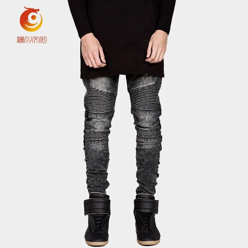Pencil Pants Skinny Jeans Men Pants Slim Fit Fold Denim Trousers High Stretch Jeans Brand High Quality Cotton Biker JeansОдежда и ак�е��уары<br><br><br>Aliexpress