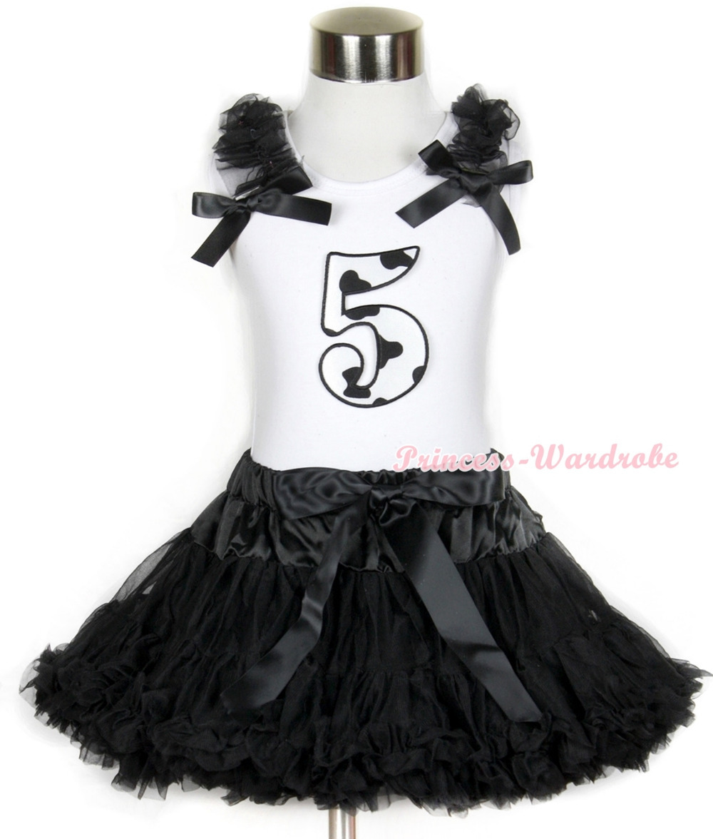 Halloween White Tank Top with 5th Milk Cow Birthday Number Print with Black Ruffles &amp; Black Bow &amp; Black Pettiskirt MAMG685<br>