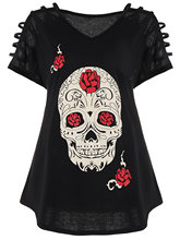 Gamiss Plus Size T Shirt Cut Out Skull Print V Neck Short Sleeve Tee Women Clothes Summer Tshirt Harajuku Casual T-Shirt Tops