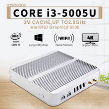 Intel Mini PC Core i3 5005U Windows 10 Desktop Computer Nettop NUC barebone system Fanless Broadwell HTPC HD5500 Graphics WiFi(China)