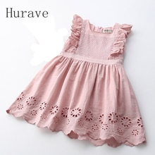 Hurave Lilota Style Girl Dress Embroidered Sleeveless Princess Dress Girls Kids Clothes Infant Casual Children Dress