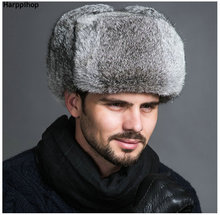 High Quality Mens 100% Real Rabbit Fur Winter Hats Lei Feng hat With Ear Flaps Warm Snow Caps Russian Hat Bomber Cap(China)