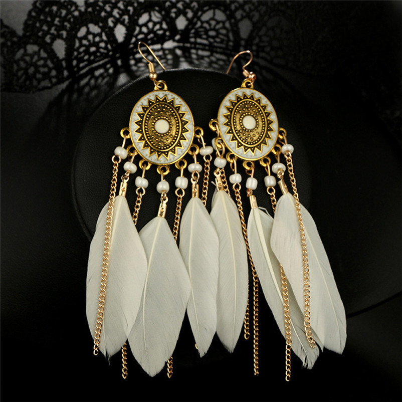 2018 Trendry Earrings for Women Vintage Women Bohemian Fashion Weave Tassel Earrings Long Drop Earrings Jewelry Brincos J05#N (8)