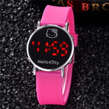 Baby Clock Cat Hello Kitty Watches Gril Lovely Cartoon Watch Kids Watch Children Cute Leather Quartz Watch Clock Baby Gift Hour