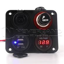 New Arrival 12V Car Cigarette Lighter Panel Waterproof Socket Plug Dual USB Port Voltmeter Free Shipping(China)