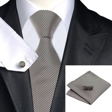 SN-1114 Brown Striped Tie Hanky Cufflinks Sets Men's 100% Silk Ties for men Formal Wedding Party Groom(China)