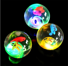 1PCS Colorful Soft High Bouncing Balls Elastic Flashing Jump Ball Toys Novelty LED Colored Plastic Ball Baby Funny Cartoon Toy(China)