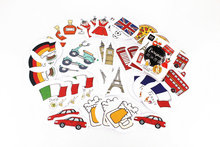 45pcs/Box European Countries Stickers Pack Post It Kawaii Planner Scrapbooking Sticky Stationery Escolar School Supplies2017