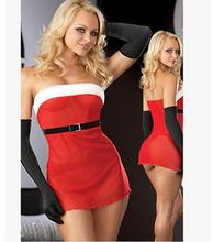 Buy M-XXL Women's Sexy Lingerie Hot Strapless Christmas Costumes Girls Cosplay Sleeveless Red Dress Short Fantasias Sexual WL29