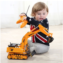 Large 11 Channels RC Excavator RC Car Remote Control Toys Car Electric Excavator Charging Electric Vehicle Toys For Kids Boys(China)