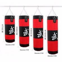Fitness Empty Boxing Bag Gym Punching Sandbag Hollow MMA Hanging Kick Punch Bags Boxing Training Equipment Tool Red 70cm~100cm(China)