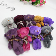 50pcs/lot Mixed Colors 12cm Joint Teddy Bear plush toys ,Keychain Tie bear Plush Toy, peluches bicho ursinho de pelucia(China)