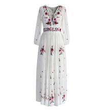 White boho long dress cotton 2017 Vintage floral Embroidery V-neck tassel Casual maxi dresses hippie women dress brand clothing(China)
