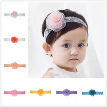 3pcs/lot Kids Girl Lovely Lace Headband Singed Half Clear Flower Headband Baptism Shower Headwear 21 Color Alternative FD257