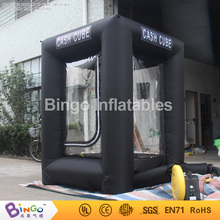 black Inflatable Cash Cube Money Booth Money grab running money with blowers inflatable game 1.5*1.5*2.3mH BG-A0903 toy