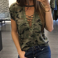 Fashion T-shirts Sexy Women's Clothing Summer Short Sleeve T-shirt Loose Clothes Casual V-Neck T-Shirt Camouflage Female Tops