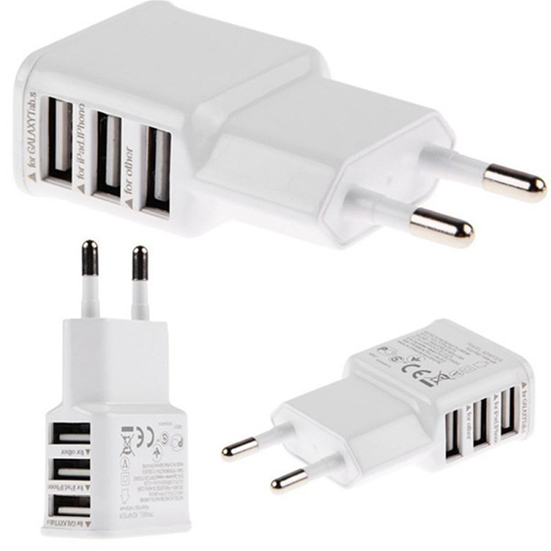 3 Ports USB AC usb Wall Charger 5V 2A EU US Plug Power Adapter dual micro USB cable for Iphone 4 4S 5 5S 6 Samsung Galaxy S4 S3(China)