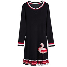 SRUILEE Brand Design Flamingo Embroidery Ruffles Vestidos 2017 Autumn New Women Dress Pullover Knit Jumper Fashion Runway S1024(China)