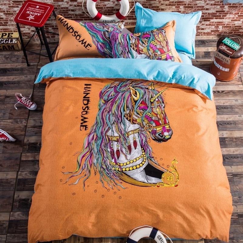 vintage horse children bedding set duvet cover bed sheet pillow cases bed linen set queen single