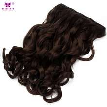 "Neverland 22"" Synthetic Wavy Hair 5Clips Clip In Hair Extensions Dark Brown Natural Wigs High Tempreture Fiber Women Hairpiece"