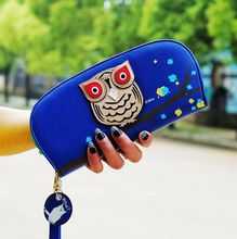 New design of cute Owl wallet Stereoscopic Printing Rounded Zipper Long Women Clutch Wallet Ladies' Short Change Purse Card bags