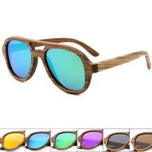 1b68c45ffed8b Clássico Homens Polarizada óculos de Sol Da Lente do Espelho Mulheres óculos  de Sol de Bambu de Madeira de vidro Proteção UV400 .