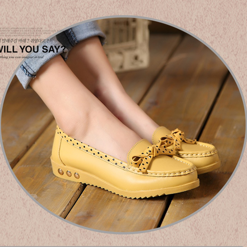 New 2016 hot sale spring Women genuine leather flats soft leather shoes womens round toe flexible ballet loafer<br><br>Aliexpress