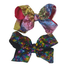 "1PC Baby Girls Hairpins Hair Clip With 6"" Oversize Sequin Messy Bow Pinwheel Bowknot For Kids Barrette Halloween Headwear 24B413()"