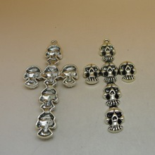 RONGQING 10pcs/lot Skull Cross Pendant 74x40mm Religion Devil Cross Jewelry Findings DIY Accessoire Bijoux Fabrication(China)